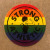 This is the Strong Athletic Logo Sticker with Rainbow background. Strong Athletic is a proud member of the LGBTQIA+ Community. We support queer athletes.