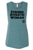This is the full image of the front Strong Athletic Woman Muscle Tank. The tank comes down past the stomach. It is flowy, but not baggy. It is designed to show off some of the chest area below the arm, so if you're wearing a bra, you'll show off your bra too.