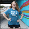 This is the front of the Strong Athletic Mom Crew Neck T-shirt in Heather Teal with White Ink. We love printing on this Bella Canvas Shirt, style 3001, because it is the most versatile shirt that we have found on the market. It is both soft and stretchy, but it doesn't cling, unless you get a size smaller than you normally wear. The sleeves come down mid-upper arm, so that you can leave them down, or roll them up a bit. This shirt, made just for moms is one of people's favorite to buy as a gift for their mom or sister or grandma. We've been told by many people that the Strong Athletic Mom shirts are a perfect gift to give to a strong mommy or mama for Mother's Day.