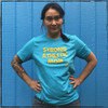This is the front of the Strong Athletic Mom Crew Neck T-shirt in Aqua Blue with Yellow Ink. We print this design on the Bella Canvas 3001, which is a super soft and comfy t-shirt that will remind you of your favorite tee, (the shirt you don't ever want to throw away, even though it's sold and tattered and torn).  We've been told by many people that the Strong Athletic Mom shirts are a perfect gift to give to a strong mommy or mama for Mother's Day.