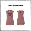 This is the front of the Strong Athletic Mom Flowy Muscle Tank Heather Mauve with Black Ink. The sizes range from Small to 2X-Large for this muscle tank. Some people consider the color of this muscle tank to be pink, others consider it to be blush, while others call it rose. Regardless of what color you think it is, this color will always be one of our favorites. This fit of this muscle tank is flowy, which basically means that it's not designed to cling, but if you'd like it to be tight, just go down a size. The length of this muscle tank is average compared to other tanks, with the hem ending around your upper thigh. The arm holes for this muscle tank could be considered to be slightly dropped, meaning that the openings for your arms are a bit larger than with a traditional tank. If you wear a bra under this tank, it's likely that it'll be visible, so make sure to wear your favorite one! We created this tank to celebrate all of the strong moms, strong mothers and strong mommies in the world. That popular saying, Strong as a mother is 100% true.