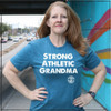 This is the front of the Strong Athletic Grandma All-Gender T-shirt in Heather Teal with White Ink. This t-shirt is very soft. The sleeves come down right above the elbow. The hem sits below the waste. #Strongathleticgrandma , #strongathleticgrandmother , #strongathleticmom , #grandma #stronggrandma, #stronglikegrandma , #strongathleticwoman , #ilovemygrandma , #strongathletic , #womanownedocompany , #womeninsports