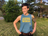 This is the front of the Strong Athletic Woman Deep Heather Teal with Yellow Ink Crop Racerback Tank Top by Strong Athletic.