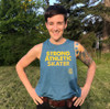 This is the front of the Strong Athletic Skater Deep Heather Teal with Yellow Ink Crop Racerback Tank Top by Strong Athletic. Flowy and light weight, this Bella Canvas design is aces.