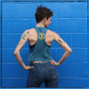 This is the back of the Strong Athletic Queer Deep Heather Teal with Yellow Ink Crop Racerback Tank Top by Strong Athletic. The tank is made to look as if you cut up your favorite t-shirt.  #strongathletic #strongathleticqueer , #queerathlete , #lgbtqia2s , #lgbt , #gayathlete , #queersinsport