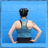 This is the back of the Strong Athletic Queer Deep Heather Teal with Yellow Ink Crop Racerback Tank Top by Strong Athletic. The back of this tank is slightly flowy, which gives it a really cool look as if you cut up an old shirt.  #strongathletic #strongathleticqueer , #queerathlete , #lgbtqia2s , #lgbt , #gayathlete , #queersinsport