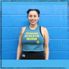 This is the front of the Strong Athletic Queer Deep Heather Teal with Yellow Ink Crop Racerback Tank Top by Strong Athletic. Strong Athletic is an LGBTQIA2S company. We believe that no athlete should need permission to compete in sports. #strongathletic #strongathleticqueer , #queerathlete , #lgbtqia2s , #lgbt , #gayathlete , #queersinsport