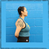 This is the side of the Strong Athletic Queer Deep Heather Teal with Yellow Ink Crop Racerback Tank Top by Strong Athletic. Most people say they're not crop people until they try this crop. Why are crops so popular now? Just look at this one, it's awesome! #strongathletic #strongathleticqueer , #queerathlete , #lgbtqia2s , #lgbt , #gayathlete , #queersinsport