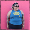 This is the front of the Strong Athletic Queer Deep Heather Teal with Yellow Ink Crop Racerback Tank Top by Strong Athletic. We're a proud member of the Queer community! #strongathletic #strongathleticqueer , #queerathlete , #lgbtqia2s , #lgbt , #gayathlete , #queersinsport