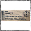 """This is one of the stickers you will get in your 4-pack. This is the """"We Believe"""" Sticker made by Strong Athletic. The sticker is brown craft with black art. The sticker says, """"We believe that words are powerful, pronouns are important and no human needs permission to demonstrate their strength."""" It also has the Strong Athletic logo on it.  This sticker is 2 X 5 inches and is only meant to go on surfaces that will not be exposed to liquids. #strongathletic , #strongathleticqueer , #strongathletictrans , #webelieve , #gayathletes , #queerathlete , #gayathlete , #queerathletes , #pride , #lgbtqia2s+ #lgbtqia , #lgbtq"""