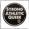 "This is one of the stickers you will get in your 4-pack. This is the Strong Athletic Queer Sticker made by Strong Athletic. This is a round black sticker with white artwork on it. The words on it say ""strong, athletic, queer"" The sticker is 3 x 3 inches in size. #strongathletic , #strongathleticqueer , #strongathletictrans , #webelieve , #gayathletes , #queerathlete , #gayathlete , #queerathletes , #pride , #lgbtqia2s+ #lgbtqia , #lgbtq"