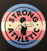 This is the front of the Strong Athletic Logo Sticker on the Trans Flag.   Strong Athletic is an LGBTQIA company and we support all LGBTIA athletes in sports. Period. This is our Trans Pride Sticker, with a combination of the original Strong Athletic Strong Woman Logo and the colors of the trans flag that was created by Monica Helms in 1999.