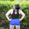 This is the back of the Strong Athletic & Fat Tank District Fitted Muscle Tank made by Strong Athletic and Chub Club. The Strong Athletic logo and the Chub Club logo are printed in white ink on the back of this tank. The material is designed to cut in toward the shoulders #strongathletic , #strongathleticandfat , #strongathleticfat , #fatathlete