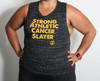 This is the front of the Strong Athletic Cancer Slayer Tank Top by Strong Athletic. This Muscle Tank is made from a super soft material, that makes it stretchy and flowy. $1 from the sale of each of these shirts goes to American Cancer Society.