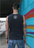 This is the back of the Strong Athletic Human Crew Neck Muscle Tank Grey with White Ink. #strongathletic , #strongathletichuman , #stronghuman