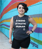 This is the front of the Strong Athletic Human All-Gender Muscle Tank Grey with White Ink. This tank is printed on the super soft Bella Canvas 3483 Muscle Tank. #strongathletic , #strongathletichuman , #stronghuman
