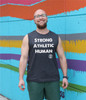 "This is the front of the Strong Athletic Human All-Gender Muscle Tank Grey with White Ink. This tank is printed on Bella Canvas Tank 3483. This tank is soft and stretchy, but goes right back into it's intended shape. This tank is designed to be more ""neutral"" and some call it ""all gender"". #strongathletic , #strongathletichuman , #stronghuman"