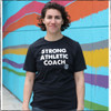 "This is the Strong Athletic Coach Traditional Crew Neck T-shirt. We print this design on the Bella Canvas T-shirt, style number 3001CVC. The words Strong Athletic Coach are screen printed by hand in white ink on this sold black fabric. We made this shirt because we're inspired by all of the women who coach sports. If you do a quick internet search for ""images of coaches"" you'll find that the majority of images that come up are of men. Where are all the female coaches who have dedicated their lives to sports? At Strong Athletic we know many women who coach and we're inspired by their hard work and dedication. If you're a coach, thank you! If you have one of those coaches, we think this shirt is the perfect way to tell them you appreciate them."