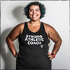 This is the Strong Athletic Coach Fitted Tank. We print this design on the Bella Canvas Fitted Tank, style number 3480. The words Strong Athletic Coach are screen printed by hand in white ink on this sold black fabric. We made this shirt because we think every coach in the world needs to know that they're appreciated. Tell your coach you appreciate them by giving them this shirt.