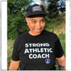 This is the Strong Athletic Coach Traditional Crew Neck T-shirt. We print this design on the Bella Canvas T-shirt, style number 3001CVC.  This classic black t-shirt is the perfect gift to buy for your athletic coach, because it's comfy, soft and the words on the front are all about coaching. People love sending this shirt to their coach as a present because of the way that Strong Athletic packages all of our items- we wrap it up and it feels like a gift when your coach opens it.