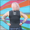 This is the Strong Athletic Queer Crew Neck Gray Muscle Tank with White Ink. The fabric for this gray muscle tank covers all of the back. This tank is part of the line of shirts that we made for members of the LGBT community.