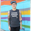This is the Strong Athletic Queer Crew Neck Gray Muscle Tank with White Ink. This tank is super soft and the material is preshrunk so you don't have to worry about shrinking it. As part of our mission to support LGBT+ athletes in sports, we've pre-donated a portion of the profits from each of our Strong Athletic Queer shirts that we sale to Pull for Pride.