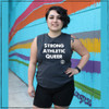 This is the Strong Athletic Queer Crew Neck Gray Muscle Tank with White Ink. This tank is This tank is made by Bella Canvas, a WARP certified company. As part of our mission to support LGBT+ athletes in sports, we've pre-donated a portion of the profits from each of our Strong Athletic Queer shirts that we sale to Pull for Pride.