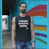 This is the Strong Athletic Queer Crew Neck Gray Muscle Tank with White Ink. This tank is one of the designs that we created to help give gay athletes a voice in sports. If you're looking for a shirt for gay men and women, you found one. Skip Amazon and other corporations that undercut small businesses and buy this one from a locally owned, queer company.