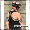 This is the back of the Strong Athletic Queer Black Crop Top Vest with White Ink by Strong Athletic. The Strong Athletic logo is printed in bold white ink between the shoulder blades. If you're wondering why we're calling this a vest it's because some countries around the world refer to tank tops as vests, so now you know. This black crop tank top was created by Bella Canvas, the style number is 6682.  This shirt is preshrunk.