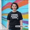 LGBT humans need visibility. That's why we created the Strong Athletic Queer design- to give a voice to gay athletes. This black tee is soft, stretchy, yet bounces back, and preshrunk. The words Strong Athletic Queer are printed in white ink and so is the Strong Athletic logo.  Are you a gay, lesbian or trans athlete who is athletics and who plays sports? This message is for you. This shirt is printed on Bella Canvas 3001CVC. This shirt is preshrunk.  Check out our size chart for sizing. A portion of profits from this tank were donated in advance to Pull for Pride, an international advocacy and education program of Women's Strength Coalition, dedicated to supporting LGBTQIA2S+ athletes.
