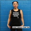 This is the Strong Athletic Queer Black Flowy Muscle Tank with White Ink. This tank was created so that members of the LGBTQIA2S+ Community can make a statement about being Strong and Athletic. This tank is printed on Bella Canvas 8803. The fabric is light-weight and breaths.  This shirt is preshrunk. A portion of profits from this tank were donated in advance to Pull for Pride, an international advocacy and education program of Women's Strength Coalition, dedicated to supporting LGBTQIA2S+ athletes.