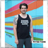 This is the Strong Athletic Queer Fitted Tank. We created this tank, and all of our shirts to remind people that they are strong. Our goal is that the people who wear tis shirt know that. We're super proud to be part of the LGBT community. Buy this tank for yourself or get it as the perfect gift for the gay humans in your life that you love. This tank was designed by Bella Canvas, the style number is 3480. This tank is preshrunk.  A portion of profits from this tank were donated in advance to Pull for Pride, an international advocacy and education program of Women's Strength Coalition, dedicated to supporting LGBTQIA2S+ athletes.
