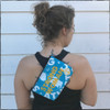 This is the Strong Athletic Woman Light Blue Fanny Pack with Yellow Ink made for Strong Athletic by Flat Track Revolution. The bags are made out of a heavy weight coated canvas fabric that is water resistant. You can wear this bag as a should strap, or as a fanny pack, or as a hip bag, or as a bum bag. You can also take the strap off of this bag and use it as a smaller purse inside of your larger bag.