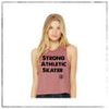 This is the front of the Strong Athletic Skater Mauve Racerback Crop Top. The length of the tank comes right above a low waste belt line. This design is printed on a Bella Canvas Crop, style number 6682