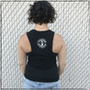 This is the back of the Massive Black Muscle Tank printed with White ink on District tanks. The Strong Athletic logo, which was created by Angel Ortega, is printed on the back of the shirt.
