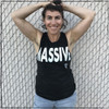 """This is the front of the Massive Muscle Tank, Black with White Ink, printed on District. This muscle tank is narrow at the top, across the chest, and is wider at the bottom. If you are wearing a bra, the bra will most likely be visible. This is an example of what the art looks like on smaller shirts. We love that the word """"massive"""" is actually MASSIVE. As a result of the artwork being so wide, it falls off of the tank for sizes Small-Large."""