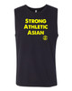 This is the front of the Strong Athletic Asian Muscle Tank, black fabric with yellow ink. This shirt is printed on Bella Canvas 3483. The armholes of this tank are not too large, so not a lot of skin is revealed. #strongathleticasian