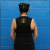 This is the back of the Strong Athletic Bionic Muscle Tank, printed on a solid black Bella Canvas Flowy Muscle Tank, 8803. The Strong Athletic logo is printed in gold ink.