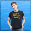 This is the front of the Strong Athletic Bionic All-Gender T-shirt. In roller derby,  it's very likely that you will get injured. Some injuries are minor, while others will change your life forever. We've been told that this tshirt is exactly what a skater needs to stay motivated after they are coming back from a derby injury.