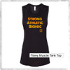 This is the front of the Strong Athletic Bionic Muscle Tank, printed on a solid black Bella Canvas Flowy Muscle Tank, 8803. We created this tank for derby skaters and officials who were coming back to the sport from injury. Sometimes athletes get injured outside of their sport, but it still keeps them out of the game for a while. We've been told that this tank is very encouraging for people looking to get back into the game.