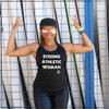 This is the front view of the Strong Athletic Woman Black Performance Racerback Wicking Tank Black with White Ink by Strong Athletic. People love this tee because it's so soft and comfortable plus it's made from moisture-wicking material, so it's great for working out in. This shirt is made by Strong Athletic the feminist woman owned LGBT company that supports all athletes in sports. Strong Athletic made the Strong Athletic Woman design because we wanted to amplify the voices of female athletes who were asking to be treated with respect and equality in sports.