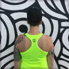 This is the back of the Strong Athletic Runner Performance Racerback Wicking Tank in High Visibility Neon Yellow with Black Ink. This racerback cuts in toward the shoulders. If you're wearing your favorite strappy bra, you'll probably be able to see it. Runners love this racerback top because the moisture wicking material keeps your skin dry, even during the longest workouts on the hottest days. The material is UV-ray protected, so it adds a layer of protection when you're in the sun. Strong Athletic is a woman-owned company, our goal is to support women, girls and members of the LGBTQIA2S+ Community in sports.