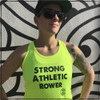 This is the front of the Strong Athletic Rower shirt that Strong Athletic made for all of the strong rowers in the world. Strong Athletic's founder, Nadia Kean, has been a rower for the majority of her life. Nadia loves sculling and sweep rowing and also loves the feeling of empowerment she feels when she's on the water. Nadia created this tank as the perfect shirt to wear while rowing.