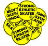 This is the Strong Athletic Skater Sticker. Yellow with Black Ink. Take it everywhere with you once you put it on your favorite water bottle.