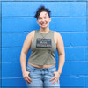 """This is the Crop Top Tank Top in Heather Army Green with the words """"Grown-Ass Woman"""" hand screen printed in black ink on the front of the tank. This tank is made by Strong Athletic the woman owned company that amplifies that voices of athletes who want to speak up for what they believe in within sports and athletics."""