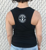 This is the back of the Strong Athletic Woman Black Muscle Tank with white ink. The Strong Athletic logo, designed by Angel Ortega, is on the back in bold white ink. Be sure to wear your favorite bra, 'cause you'll probably be able to see it in this design.