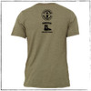 This is the back of the Strong Athletic Veteran T-shirt, which was made in collaboration with Strong Athletic and Roller Derby Battle Buddies. The Strong Athletic logo and the Battle Buddies logo are printed on the back of the shirt. #veteran , #armyveteran , #mission22 , #rollerderbybattlebuddies