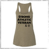 """This is the front of the Strong Athletic Veteran Racerback Tank. We made this shirt in collaboration with Strong Athletic and Roller Derby Battle Buddies. 22% of profits from this shirt is donated to Mission 22, an organization that supports Veterans of the US Military. This tank is true to sizing that is considered """"female cut"""". We print this design on the Bella Canvas 8430. #veteran , #armyveteran , #mission22 , #rollerderbybattlebuddies"""
