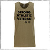 """This is the front of the Strong Athletic Veteran All Gender Tank. We made this shirt in collaboration with Strong Athletic and Roller Derby Battle Buddies. 22% of profits from this shirt is donated to Mission 22, an organization that supports Veterans of the US Military. This tank is accurate when compared to sizing of """"all gender"""" shirts. The arm holes are average size when compared to a muscle tank. We print this design on the Next Level 6233. #veteran , #armyveteran , #mission22 , #rollerderbybattlebuddies"""