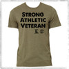 """This is the front of the Strong Athletic Veteran T-shirt, which was made in collaboration with Strong Athletic and Roller Derby Battle Buddies.  22% of profits from this shirt is donated to Mission 22, an organization that supports Veterans of the US Military. This shirt is an """"all-gender"""" design and it's fit is neutral. If you wear clothing that is in """"men's sizes"""" this shirt will fit true to size. If you wear clothing that is in """"women's sizes"""" this shirt will fit one size larger than what you normally wear. Please check the size chart for more details. #veteran , #armyveteran , #mission22 , #rollerderbybattlebuddies"""